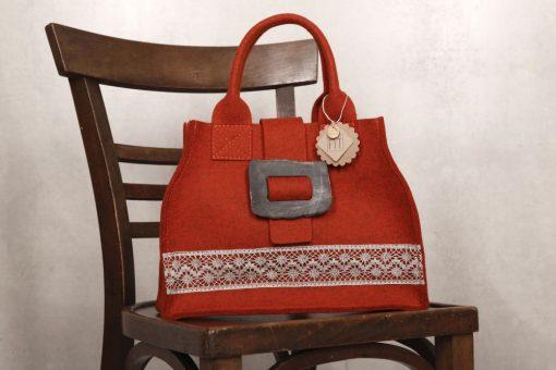 Filztasche City Bag Rost-Rot mit Leinenspitze