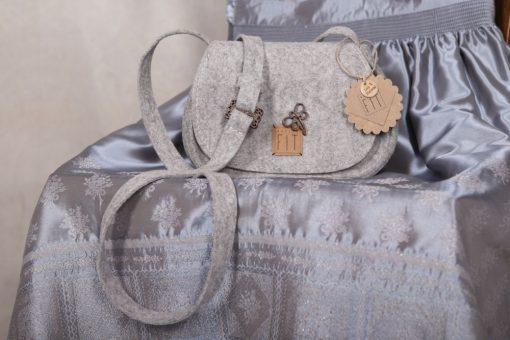 Trachtentasche / Dirndltasche m. Libelle Grau