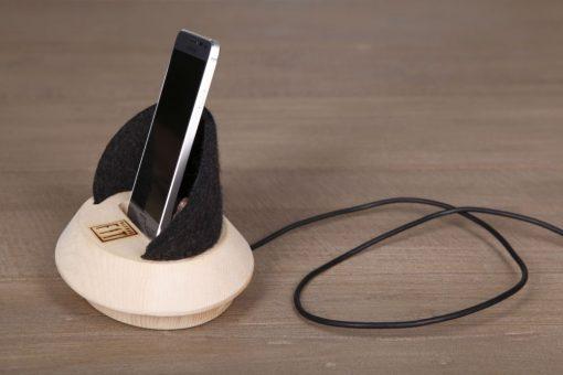 Handyhalter, Ladestation aus Zirbenholz