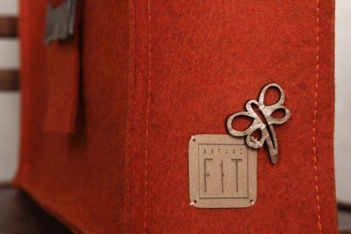 Filztasche Henkeltasche Rot mit Leinenspitze
