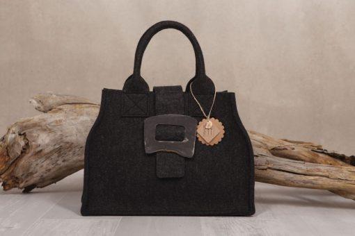 Filztasche City Bag Schwarz Schließe aus Horn