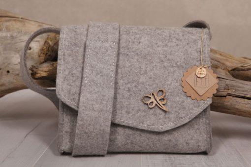 Filztasche Umhängetasche Grau Libelle Gr. M