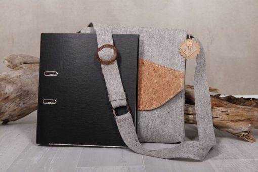 Filztasche Businesstasche Grau Kork Gr. XL
